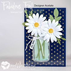 Fabulous Foil Night of Navy Daisy Delight Daisy Delight Stampin' Up, Cumpleaños Diy, Mason Jar Cards, Stamping Up Cards, Get Well Cards, Love Cards, Creative Cards, Greeting Cards Handmade, Scrapbook Cards