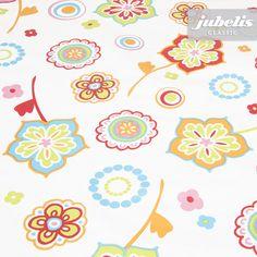 jubelis® - Weiße Wachstuchtischdecke Birte melone mit bunt gezeichneten Blumen und Blüten