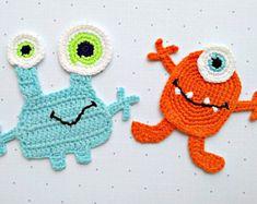 Crochet applique pattern crochet cat applique pattern no 101 pattern monster applique crochet pattern pdf instant download monsters crochet pattern embellishment accessories motif ornament for dt1010fo