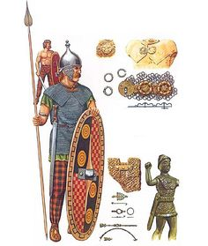 An Insubres chief around 225 BC. The Insubres and Boii led the confederation of Gallic warriors who fought at the battle of Telemon against the republic of Rome.