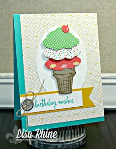 Get Crafty with Lisa: Ice Cream Birthday Wishes. This card features Stampin' Up!'s Build a Birthday and Sprinkles of Life stamp sets and Tree Builder Punch, by Lisa Rhine, www.getcraftywithlisa.com