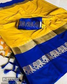 RAINBOW Hathi Fabulous Cotton Silk Sarees Ethnic Sarees, Banarasi Sarees, Cotton Saree, Cotton Silk, Fashion Bazaar, Nauvari Saree, Designer Silk Sarees, Designer Blouse Patterns, Elephant Print