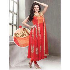 Orange Georgette Readymade #Anarkali Suits- $96.34