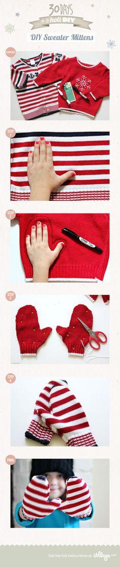 Les mitaines du Père Noël ! 10 idées à voir! Et un truc pour les faire! - Bricolages - Des bricolages géniaux à réaliser avec vos enfants - Trucs et Bricolages - Fallait y penser !