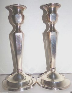 Vintage Silverplate Candlestick Candle Holders 8.75 inches Tall #Unknown