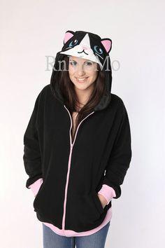 Black cat hoodie--KIGURUMI Cosplay  Charactor animal Hooded  Pajamas Pyjamas Xmas gift Adult Costume outfit  hoodies (39.99 USD) by RnMoMo