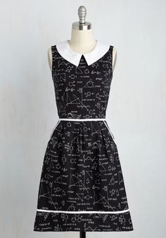 All Eyes on Unique Dress in Science. Your quirky ensembles always earn you attention, and this black A-line continues your tradition of extraordinary style! #black #modcloth