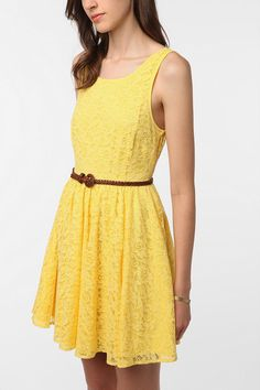 01506a82d5 Pins  amp  Needles Backless Lace Dress Yellow Lace Dresses
