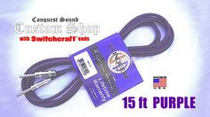 """PURPLE Conquest Sound Custom Shop 1/4"""" Instrument Cable 15ft SWITCHCRAFT plugs #ConquestSound"""