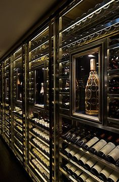 A wine cabinet serves a basic function of storing bottles and wine, also it is a great decoration for your home. Wine Shop Interior, Restaurant Interior Design, Shop Interior Design, House Design, Home Wine Cellars, Wine Cellar Design, Home Bar Designs, Wine Display, Wine Wall