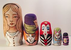Alice in Wonderland woodburned nesting dolls by gingerwilliams