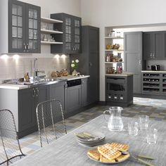 Meuble de cuisine DELINIA, composition type Nuage, gris smoke n°2