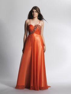 A-line Spaghetti Straps Chiffon Sweep Train Sleeveless Beading Prom Dresses at pickedlooks.com