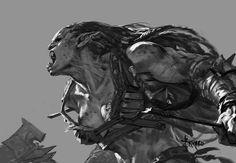 Bayard Wu Digital Painting Illustration Fantasy Orc Value Sketch Warrior Fantasy Races, Fantasy Rpg, Fantasy Girl, Fantasy Artwork, Dark Fantasy, Fantasy Character Design, Character Inspiration, Character Art, Dnd Characters