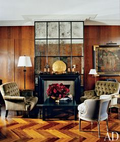 Velvet accents create a sensuous atmosphere in these dazzling spaces from our archives