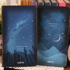 A 'starry night' themed art journal for drawing and painting purposes. Stationary Store, Journal Diary, Office And School Supplies, Night Skies, Good Night, Notebook, Study, Drawings, Cover