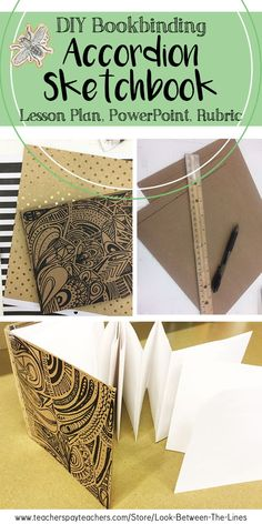 This DIY book binding technique is for accordion sketchbooks. in each of my visual art classes I have students make their own sketchbooks to help them to buy into the process from day one. Drawing Lessons, Art Lessons, Drawing Tips, Drawing Ideas, Sketchbook Assignments, Sketchbook Prompts, Different Types Of Books, Art Prompts, Art Courses