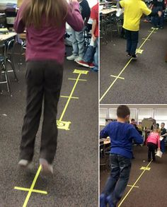 """Hopping down a fraction number line to learn about fraction intervals! These students are taking part in an activity called """"Penguins Hopping on Number Lines"""" from Penguin Fractions: Exploring the Basics by Laura Candler. Great for kinesthetic learners!"""