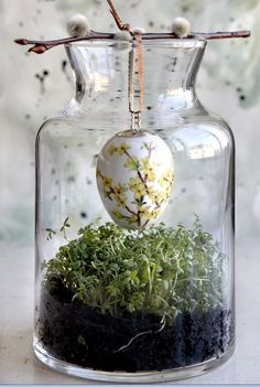 Suspending an object into a jar using a twig. This could be done with Christmas ornaments using a sprig of pine or holly!(Diy Pour)
