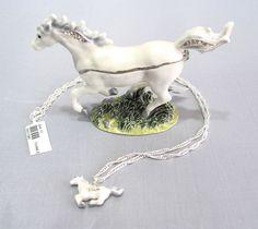 New Trinket Box Gift Painted Swarovski Crystals Snow White Horse Animal Necklace