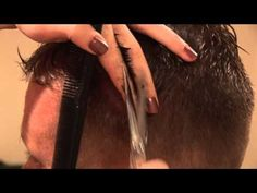 Cutting men's hair - Basic Cut. She does an entire haircut, so you get to see each little bit.