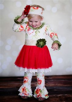 Giggle Moon Clothing Pearl Gates Hoilday Tutu Dress & Ruffle Pants Set Fall…