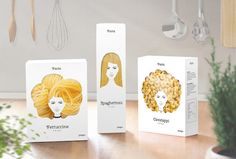 Cleverly Designed Packaging Makes Pasta Look Like Gorgeous Hair - My Modern Met
