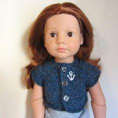 Gilet bleu brodé d'une ancre de marine pour poupées happy kidz, 50 cm, götz