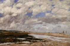 Eugene-Louis Boudin The Beach, Deauville hand painted oil painting reproduction on canvas by artist Eugene Boudin, Honfleur, Camille Pissarro, Edgar Degas, Paul Cezanne, Oil Painting Reproductions, Sky And Clouds, France, Claude Monet