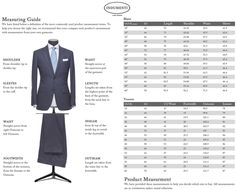 Mens Suit Jacket Size Chart  Google Search  Dress For Success