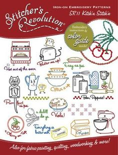 Ridiculously adorable kitsch-y kitchen embroidery patterns - perfect for tea towels!