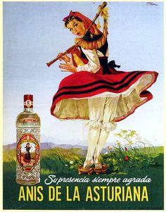 ¿Gil Elvgren? Nooo, pinup asturiana. Cartel publicitario para Anís de la Asturiana. Manuel Cuesta. Año 1955
