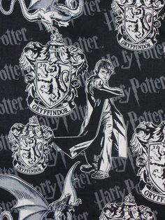 Harry Potter Fabric Gryffindor Hogwarts Emblem Crest By The Yard