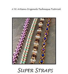 Beading Tutorial pack, Easy Straps using Super Duos, Step by Step with Detailed Diagrams. Super Straps