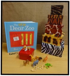 "Dear Zoo and props from Rachel ("",) Dear Zoo Activities, Nursery Activities, Language Activities, Activities For Kids, Activity Ideas, Nursery Stories, Book Area, Story Sack, Book Baskets"