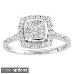 De Couer 10k White Gold TDW 1/2ct Diamond Halo Engagement Ring (H-I, I2) with Bonus Necklace