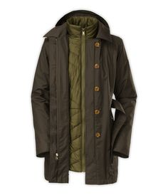 The North Face Riverdale TriClimate Trench Jacket Womens Black Ink Green
