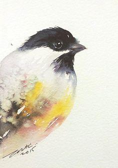 Mésange à tête oiseau art peinture aquarelle originale 4 x 6