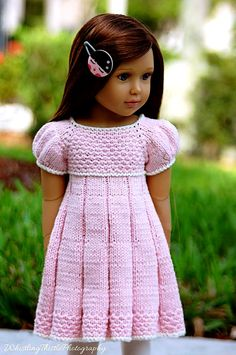 PLEATED SUMMER slim 18 inch doll Kidz n Cats DRESS Knitting