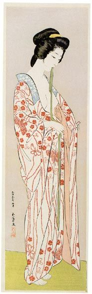 Beauty in long undergarment by Hashiguchi Goyo, 1920. S)
