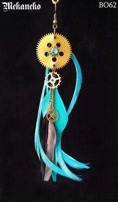 Paire de Boucles d'oreilles steampunk tribale à plumes, originale, ethnique, tribale, véritables engrenages