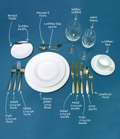 Detailed table setting. And article re: UK vs US manners