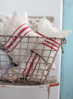 by lavender pillows made from antique European grain sacks. Each pillow will be made with a grain sack that has a red stripe(s). The pillows are filled with a half of a pound of fragrant dried organic lavender. Cushions To Make, White Cushions, Diy Basket, Red Cottage, Swedish Cottage, French Cottage, French Country, Grain Sack, Linens And Lace