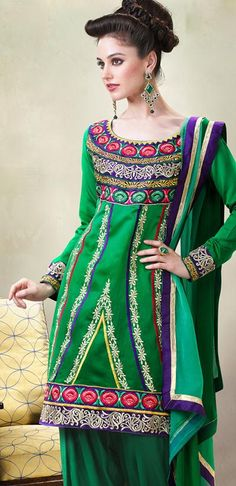 $58.38 Green Full Sleeve Cotton Knee Length Salwar Kameez 20997