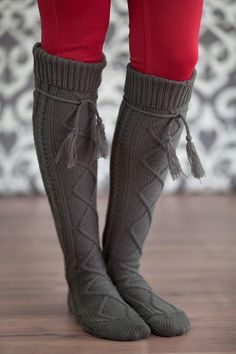 418fa23ad Alpine Boot Socks Dark Brown Thigh High Tie Top Tassels Thick Boho ...