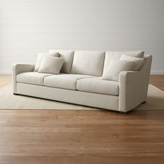 """Shop Verano 3-Seat 102"""" Extra Long Cream Sofa.   The grande sofa's low seat sets a casual, inviting tone, while cushions create first-class comfort covered in a synthetic blend that has the look of a simple textured linen."""