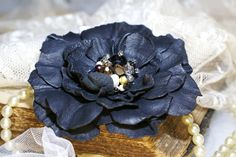 Black Leather Flower Brooch Roses Leather Flower by DreamBlossoms, $30.00