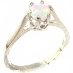 925 Sterling Silver Natural Opal Womens Solitaire Ring  Sizes 4 to 12 Available *** Read more reviews of the product by visiting the link on the image.Note:It is affiliate link to Amazon. #pretty