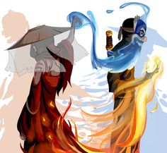 Prince Zuko the Blue Spirit and Katara the Painted Lady from Avatar The Last Airbender Avatar Aang, Avatar Airbender, Avatar Legend Of Aang, Zuko And Katara, Team Avatar, Legend Of Korra, Avatar Cartoon, Avatar Funny, Fanart