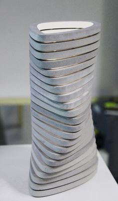 OVO vase - alsace concrete conenna concrete design contemporary france led modular tamim daoudi vase----could mold with a hole to feed post through so all pivot around center axis Cement Art, Concrete Cement, Concrete Furniture, Concrete Crafts, Concrete Projects, Concrete Design, Furniture Design, Furniture Ideas, Repurposed Furniture